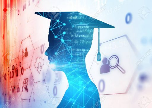 3d rendering of virtual human silhouette on technology background illustration,concept  of online education or e-learning.